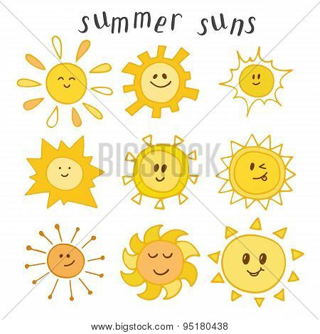 Set Of Cute Summer Suns. Hand Drawn Smiley Suns