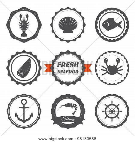 Set Of Seafood Labels. Seafood Design Elements