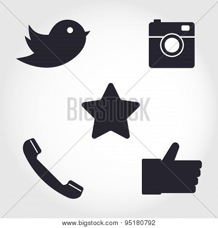 Social Network Icons Set. Collection Of Different Icons - Hipster Digital Camera, Like Han