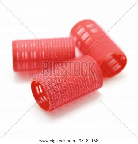 Hair Curlers Isolated On White Background