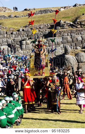 Inti Raymi Cusco Peru 2015 Inca Carried On Golden Throne