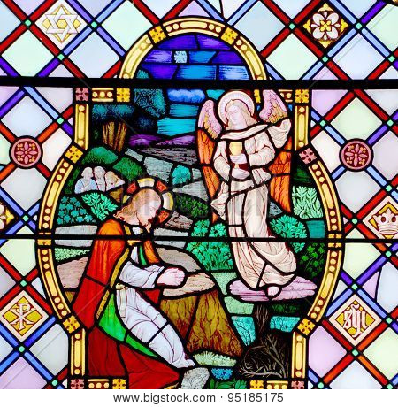 Stained glass window in St. Andrew Cathedral