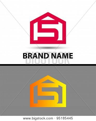 Number 5 logo. Vector logotype design with house icon
