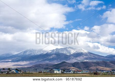 Snow capped mountain range