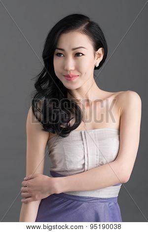 Smiling Mongolian brunette