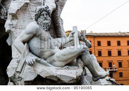Zeus Statue In In Bernini's Fountain , Piazza Navona, Rome Italy