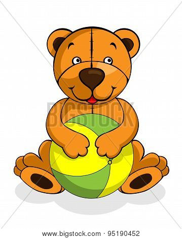 plush bear with ball, vector illustration