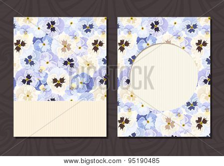 Flyer with blue and white pansy flowers. Vector eps-10.