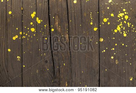 Yellow Paint Splats N Wood