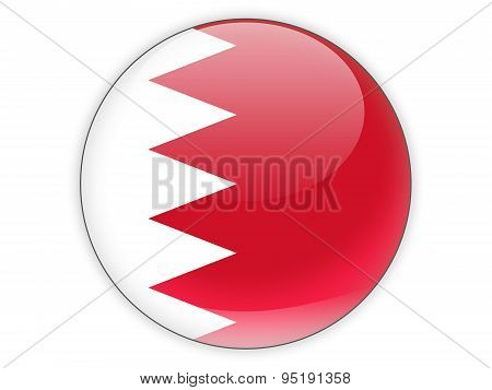 Round Icon With Flag Of Bahrain
