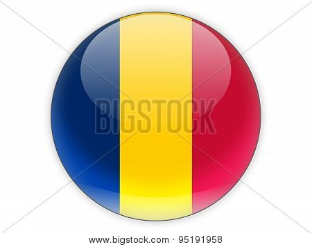 Round Icon With Flag Of Chad