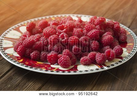 Sweet Raspberries On Plate