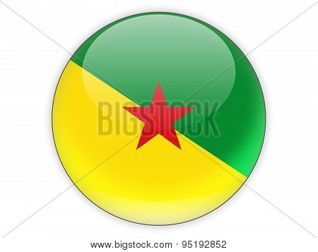Round Icon With Flag Of French Guiana