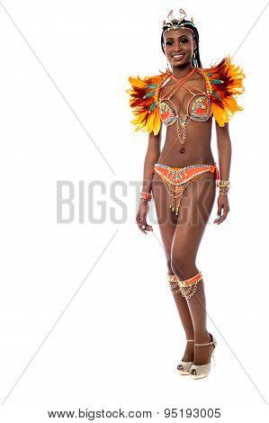 Cheerful Samba Dancer Posing Over White