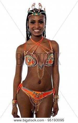 African Carnival Dancer Posing