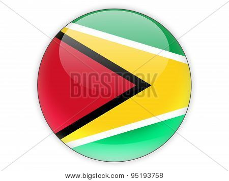 Round Icon With Flag Of Guyana