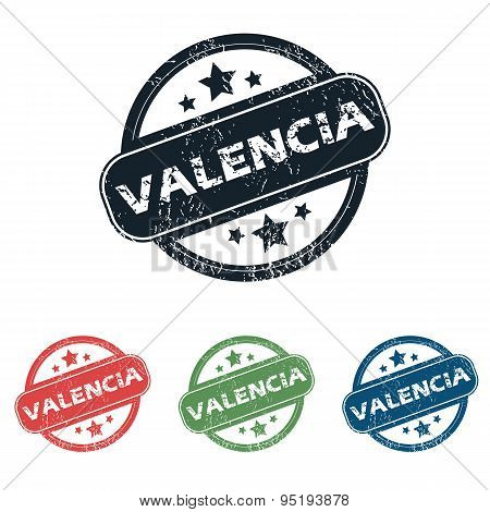 Round Valencia city stamp set