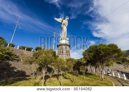 Representation Of The Winged Virgin On Top Of The Hill Panecillo