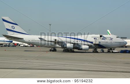 El Al Boeing 747 in John F Kennedy Airport in New York