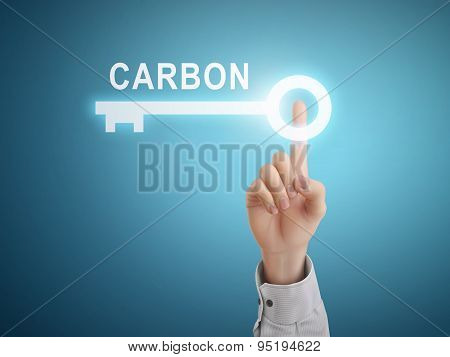 Male Hand Pressing Carbon Key Button