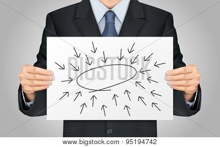 Businessman Holding Empty Diagram Poster