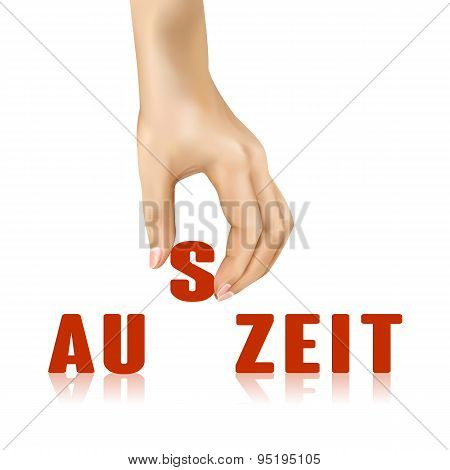 Auszeit Word Taken Away By Hand