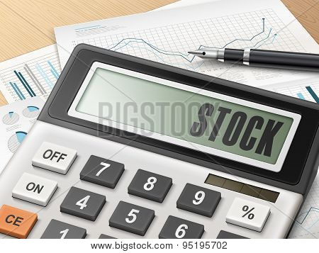 Calculator With The Word Stock