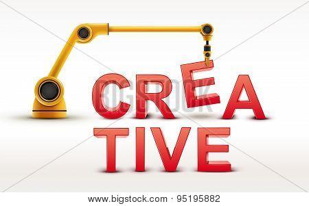 Industrial Robotic Arm Building Creative Word