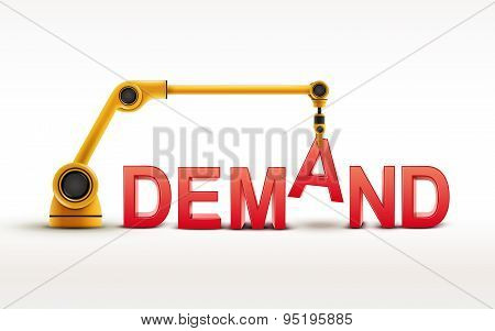Industrial Robotic Arm Building Demand Word