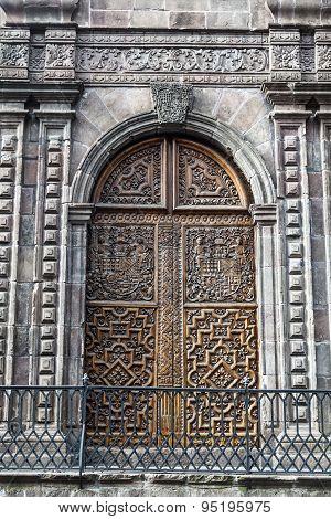 Carved Wooden Door, Church Carmen Bajo, Quito, Ecuador