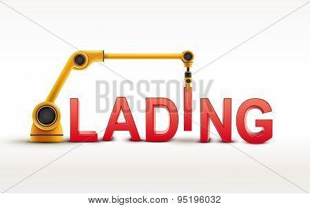 Industrial Robotic Arm Building Lading Word