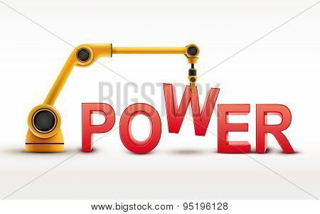Industrial Robotic Arm Building Power Word