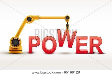 Industrial Robotic Arm Building Power Word
