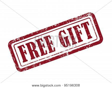 Stamp Free Gift In Red Text On White