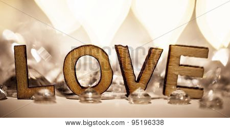 Romantic Love Sign In Wooden Letters