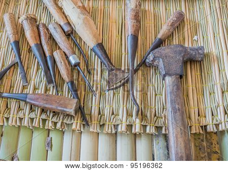 Group Of Carpenter Tools