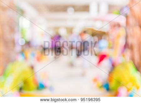 Blurred Image Of People Walking At Day Market , Blur Background With Bokeh