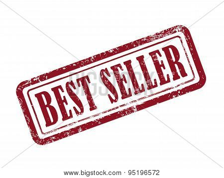 Stamp Best Seller In Red Text On White
