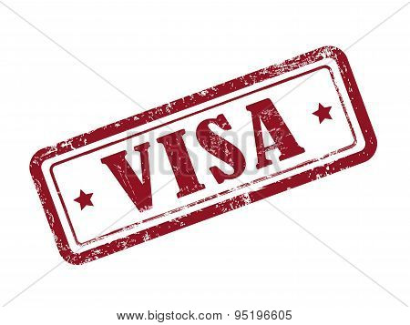 Stamp Visa In Red Text On White