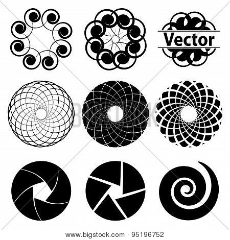 Set Fractal And Swirl Shape Element. Vintage Monochrome Different Objects. Vector Decorative Sample.