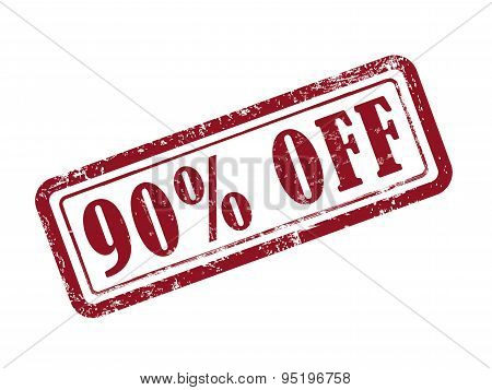 Stamp 90 Percent Off In Red Text On White