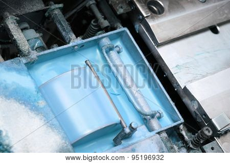 Container With The Paint In Industry