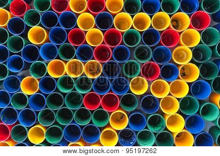 Top View Of Primary Colors Of Mix Color Cups  For Artist Painting.