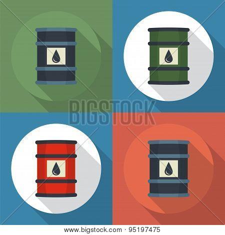 Barrel Oil Round Icon