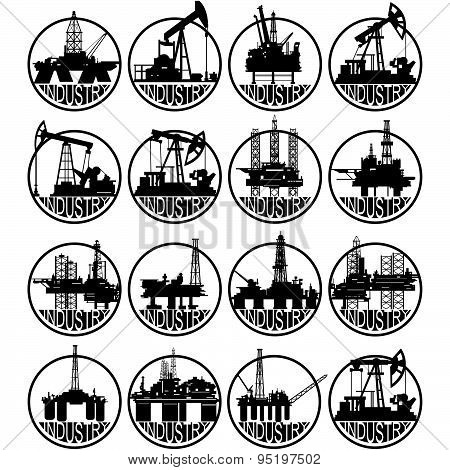 The icons of the oil industry. The illustration on a white background.