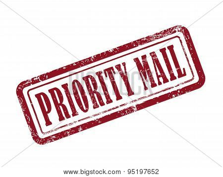 Stamp Priority Mail In Red