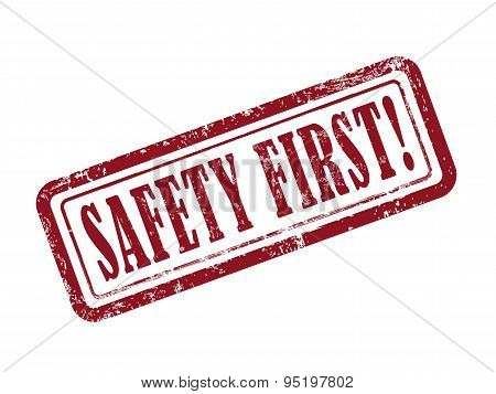 Stamp Safety First In Red