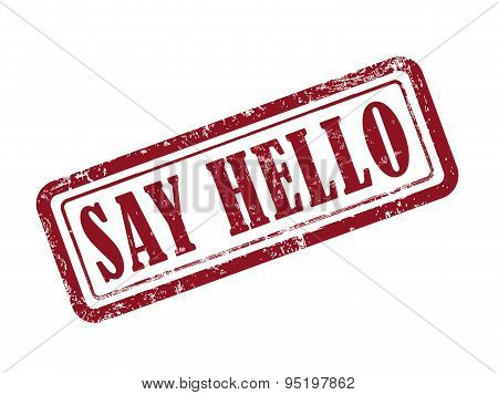 Stamp Say Hello In Red