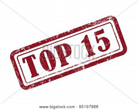 Stamp Top 15 In Red