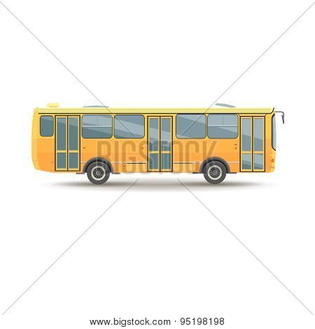 flat design public transport vehicle city bus, side view, isolated